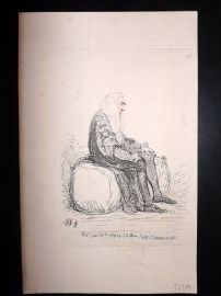 James Gillray 1851 Caricature. Legal Figure sat on bench